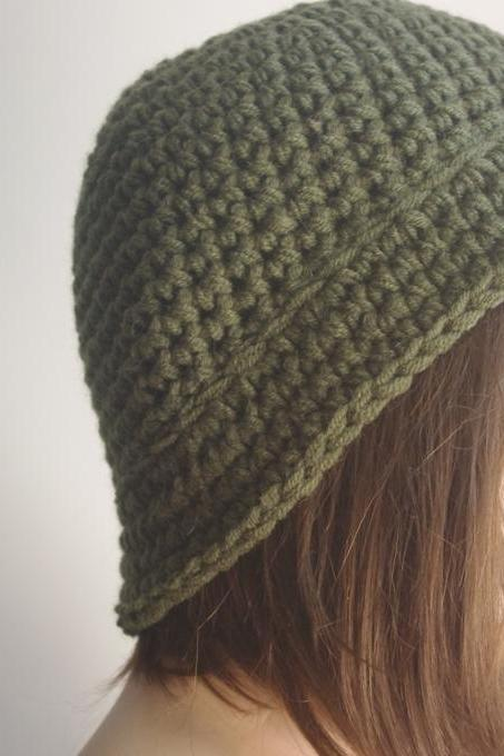 Womens fedora hat - chunky knit Slouchy SOLDIER GREEN Beanie Slouch Hat Fall Winter Accessories Beanie Autumn Christmas Fashion