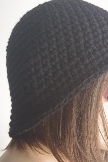 Womens fedora hat - chunky knit Slouchy BLACK Beanie Slouch Hat Fall Winter Accessories Beanie Autumn Christmas Fashion
