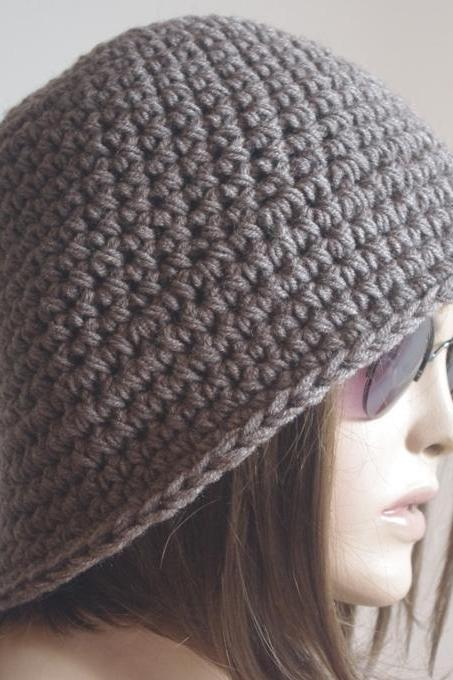 Womens fedora hat - chunky knit Slouchy Brown melange Beanie Slouch Hat Fall Winter Accessories Beanie Autumn Christmas Fashion
