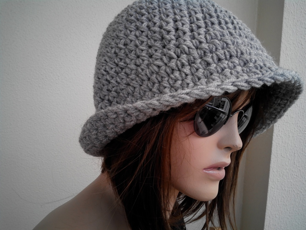 Knitting Pattern Trilby Hat : Womens Fedora Hat - Chunky Knit Slouchy GRAY Beanie Slouch Hat Fall Winter Ac...