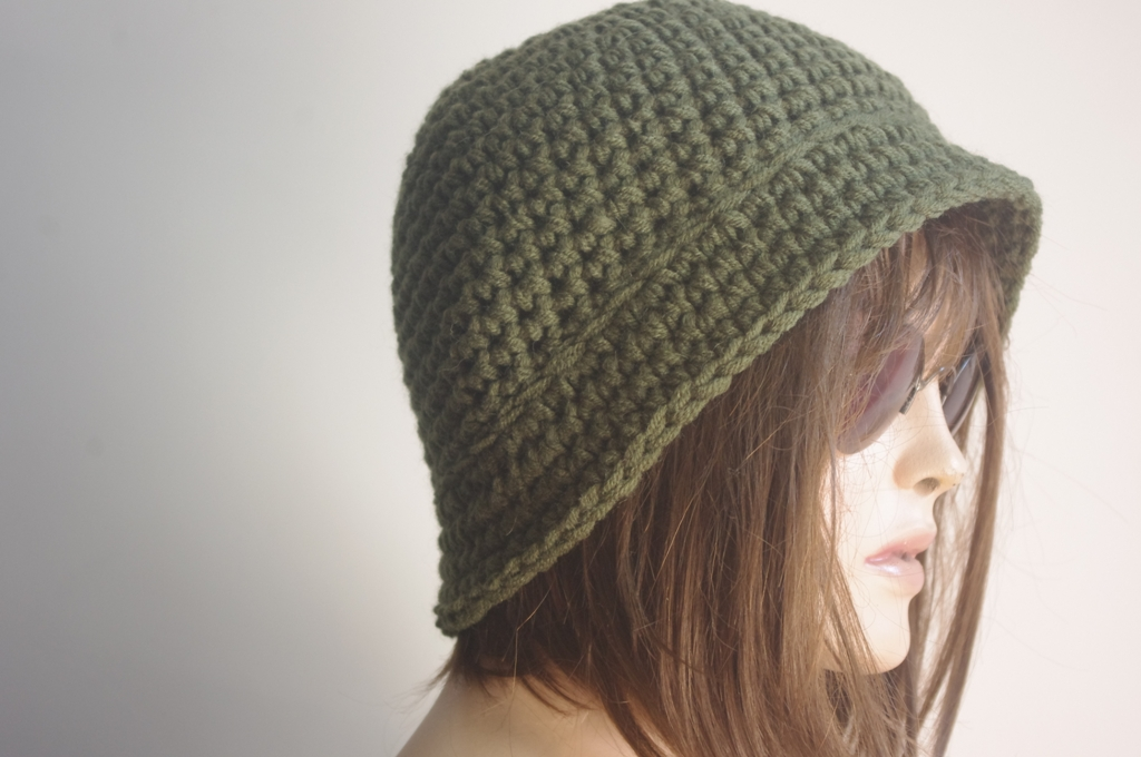 Knitting Pattern For Soldiers Hats : Womens Fedora Hat - Chunky Knit Slouchy SOLDIER GREEN ...